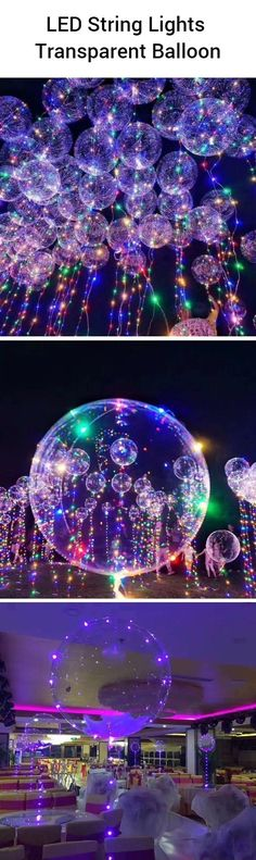 LED String Lights Transparent Balloon Clear balloons with colourful LED lights create such a cool ef Wedding Balloons, Birthday Balloons, Birthday Parties, Birthday Ideas, Birthday Backdrop, 21st Birthday, Transparent Balloons, Clear Balloons, Balloon Decorations