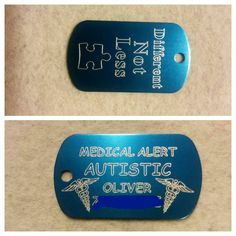 Medical Alert Autisic Dog Tag by MAKcraftsengraving on Etsy