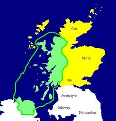 The Kingdom of Dalriada c 500 AD is marked in green. Pictish areas marked yellow. Irish and British DNA : a comparison