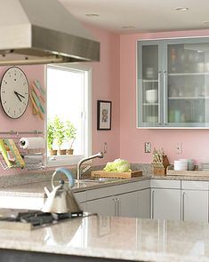Pink Walls with Grey Glass Fronted Cupboards - I'm sure Taps would agree since he wont be spending much time there ;)
