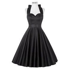 Retro Ruched Hem Halter Dress Swing