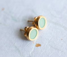 Small Light mint Stylish Gold plated earring studs with by pardes, $15.00