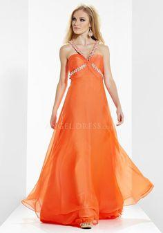 Chiffon Empire Halter Floor Length A line Open Back Prom Dresses