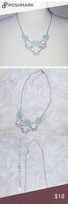 NWOT Turquoise Rhinestone Statememt Necklace Never worn. So chic and pretty! Can be worn with dressy attire, or totally dress up a basic T-shirt and boyfriend jeans/skinny jeans with heels. Play up your style! Boutique Jewelry Necklaces