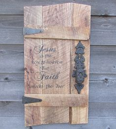 This Primitive Rustic wood Sign is made of reclaimed pallet wood, it measures approximately X It is hand painted, and includes Ornate hinges and a rustic door knob. It has the scripture verse (Outdoor Wood Signs) Wood Pallet Signs, Rustic Wood Signs, Pallet Art, Wooden Pallets, Wooden Signs, Pallet Crafts, Diy Pallet Projects, Wood Crafts, Wood Projects
