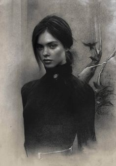 Steps for Portrait Drawing with Charcoal - Drawing On Demand L'art Du Portrait, Portrait Sketches, Pencil Portrait, Drawing Sketches, Female Portrait, Drawing Tips, Charcoal Portraits, Charcoal Art, Gothic Drawings