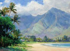 Beautiful hanalei Canvas Print / Canvas Art by Jenifer Prince Seascape Paintings, Landscape Paintings, Oil Paintings, Landscapes, Acrylic Paintings, Abstract Oil, Abstract Landscape, Ocean At Night, Hawaiian Art