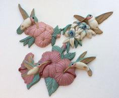 Burwood Products Set of 3 Hummingbirds Wall Decor Vtg Bird Decoration Garden | eBay