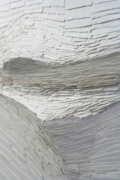 "Never Still, Always Changing (detail), white porcelain ""mural"" - Jeanne Opgenhaffen"