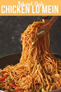 Best and Easy recipe of Chicken Lo Mein under 30 mins! lo mein recipe chinese food stir fry Easy under 30 mins recipe of takeout style Chicken Lo Mein Spicy Chicken Lo Mein Recipe, Chicken Recipes, Chicken On A Stick Recipe Chinese, Pf Changs Lo Mein Recipe, Best Lo Mein Recipe, 30 Min Meals, Easy Meals, Sauce Hoisin, Soy Sauce