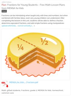 Fractions for Young Students - Free Math Lesson Plans from MENSA for Kids