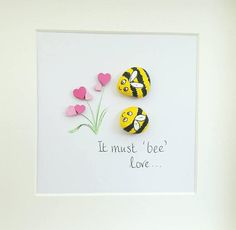 Pebble Picture art framed 'It must bee love' unusual
