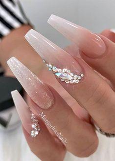 Wedding Acrylic Nails, Best Acrylic Nails, Acrylic Nail Designs, Nail Art Designs, Wedding Nails For Bride, Bride Nails, Wedding Nails Design, Wedding Designs, Prom Nails