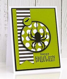 Happy Thursday and welcome to the newest Fusion Challenge- 'Striped Wreath' . The amazing inspiration photo is a great starting point. Halloween Tags, Halloween Paper Crafts, Halloween Scrapbook, Handmade Halloween Cards, Cricut Halloween Cards, Happy Halloween, Halloween Spider, Halloween 2019, Scrapbooking