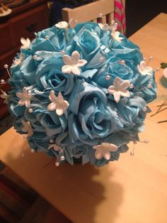 My version of the turquoise and white bridal bouquet.