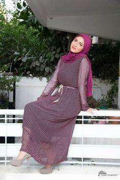 Purple chiffon maxi dress with hijab.