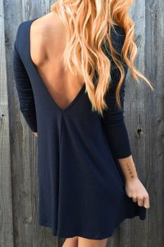 Round Neck Long Sleeve Backless Solid Color Women's Dress