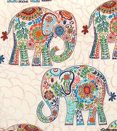 Valori Wells Karavan Marrakech in Artisan Fat by BobbieLouFabric Elephant Fabric, Elephant Pattern, Elephant Love, Elephant Art, Doodles Zentangles, Dot Painting, Fabric Painting, Elefante Hindu, All About Elephants