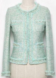 Faux-Pearl Embellished Fringed Tweed Jacket in Powder Blue