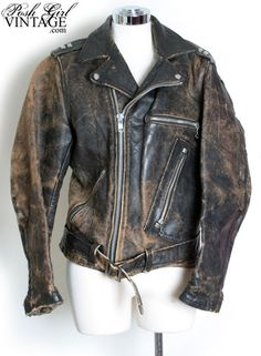 1940's Vintage Motorcycle Leather Jacket - Pistol Pocket