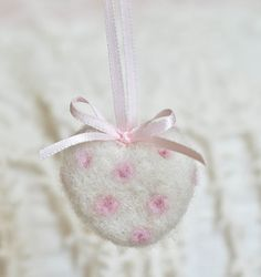 Needle Felted Heart Ornaments, Romantic Style, Valentine's Day,  Bride-to-Be, Mom to Be Gift, Mother's Day by Cynthia Foust Wolfe on Etsy, $6.00