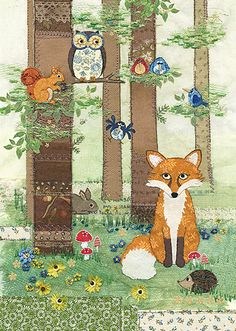 BugArt ~ Woodland Fox. Amy's Cards *NEW* Original embroideries by Amy Butcher. Cards designed by Jane Crowther.