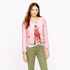 Pink tweed jacket brings a little Parisian oooh-la-la for spring.  Love it paired with skinny jeans or slim khakis!