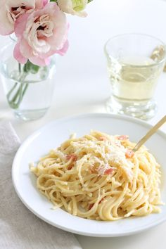 A fresh take on brunch - Pasta Carbonara is a simple & delicious entertaining recipe in about 10 minutes.