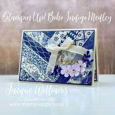 Stampin' Up! Boho Indigo Product Medley. Herringbone paper layout. Perfect for beautiful coordinating patterned paper. Stampin Up, Stamp A Stack, Simple Flowers, Card Making Inspiration, Boho, Paper Design, Cardmaking, Quilt Patterns, Birthday Cards