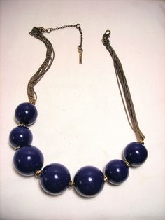 Kenneth Cole Blue Bead Chain Necklace Choker #KennethCole #Choker