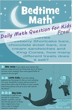 FREE math question of the day, every day one question for each of the 3 age group kids, fostering love of math! All are practical questions. Available online on computer free, or as free app on mobile devices, and print books