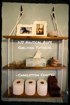 How to Build DIY Nautical Rope Shelving DIY - Home Professional Decoration Nautical Bathroom Decor, Coastal Decor, Nautical Home Decorating, Bohemian Bathroom, Nautical Bedroom, Coastal Interior, Coastal Cottage, Coastal Homes, Coastal Living