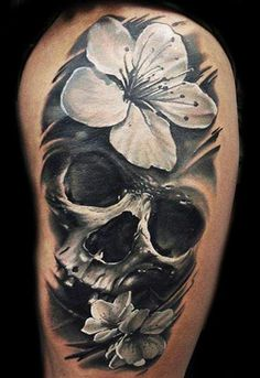 Realism Skull Tattoo by U Gene - http://worldtattoosgallery.com/realism-skull-tattoo-by-u-gene-5/