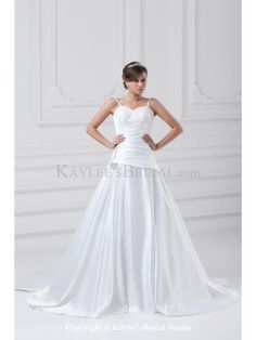 Satin Spaghetti Neckline Sweep Train A-line Embroidered Wedding Dress