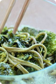 Green Coconut Curry Noodles: http://chocolatecoveredkatie.com/2013/09/20/green-noodles/