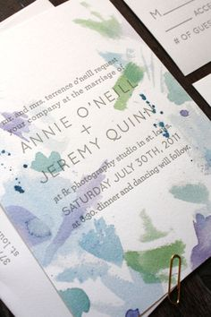 Cool for save the date Blue Watercolor - Letterpress Wedding Invitation Suite