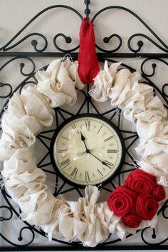 Pajama Crafters: Red Burlap Rose Wreath