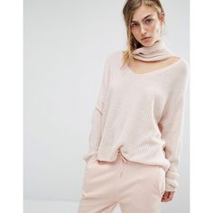 Parallel Lines Slouchy Sweater With Choker Roll Neck (3,460 INR) ❤ liked on Polyvore featuring tops, sweaters, beige, slouchy sweater, cut-out sweaters, rollneck sweaters, beige sweater and beige top