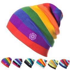 Rainbow Stripes Winter Hats For Women & Men Knitted Beanies Caps Fashion Warm Hip Hop Ski Skull Beanie Men Winter Knit Hats, Winter Hats For Women, Hats For Men, Winter Beanies, Mode Hip Hop, Knit Hat For Men, Ski Hats, Women's Hats, Polo Hats