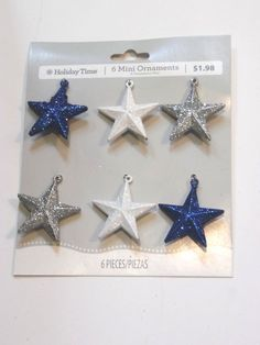 6 BLUE SILVER WHITE STAR PATRIOTIC ORNAMENT MINI TABLE TREE CHRISTMAS DECORATION