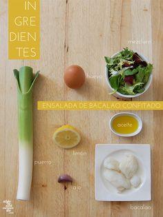 Ingredientes para una ensalada de bacalao confitado