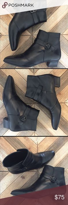 """Amalfi Black Ankle Chelsea Boot Italian made Leather Black Ankle Bootie by Amalfi. Super cute slide in with buckle detail on side of each boot. Women's size 8 1/3 AA which is a narrower fit. 1.25"""" heel. The right shoes is 8.5 and the left shoe is a 9... Amalfi Shoes Ankle Boots & Booties"""