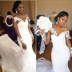 ♡Can't get over @papachichistyle's beautiful bridal look! ❤️ MUA @thequeenhaddasah Hair @charishair Dress @orientalpearl Detachable custom sleeves @yinkaalli  #BellaNaijaWeddings #MaryMarlon2016
