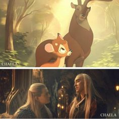 Hahaha!! This is perfect! Legolas and Thranduil as Bambi and the Great Prince! :-)
