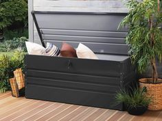 Kussenbox staal grafietgrijs 132x62 cm CEBROSA | Koop nu online en betaal later. Gratis bezorging en retourneren