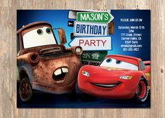 Items similar to Disney's Cars Birthday Invitation! Lightning McQueen and Mater Birthday Party Invite! Add a Photo. on Etsy Lightning Mcqueen Party, Cars Invitation, Cars Birthday Invitations, Invites, Wedding Invitations, Disney Cars Party, Disney Cars Birthday, Car Themed Parties, Cars Birthday Parties