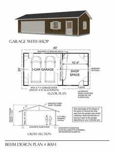 Two car garage plan 640 1 20 39 x 32 39 by behm design for 28 x 32 garage plans