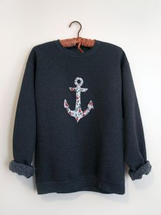 Floral Print Anchor Small Crewneck Sweatshirt