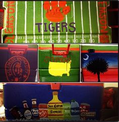 Football field with UK in middle and richie cook on side where it says Clemson or name under UK symbol Kentucky on sides