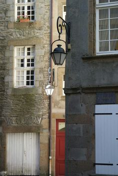 A #calm #ancient #style #street with pretty #streetlight in #intra-muros #saint-malo #france